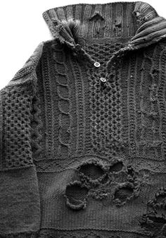 I want this, holes and all, to wear with jeans and ridiing boots (despite it being a fishing sweater). Aran Island original sweater design