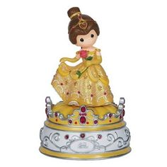"Listen to the enchanting melody of ""Beauty and the Beast"" radiating from the Precious Moments Disney Showcase Belle Musical Figurine. Beautifully hand-painted, Disney lovers will rave over this magical, memorable keepsake. Walt Disney, Disney Pixar, Disney Characters, Disney Villains, Disney Belle, Disney Music, Disney Precious Moments, Precious Moments Figurines, Rose In Hand"