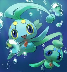 Manaphy and Phione by PinkGermy.deviantart.com on @deviantART