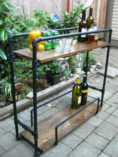 DIY Industrial Bar Cart Life Designed - inspiration for Brody's custom desk made out of industrial pipe and wood.