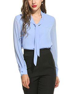 ACEVOG Womens Casual Chiffon Ladies V-Neck Cuffed Sleeve Blouse Tops (X-Large, Light Blue)