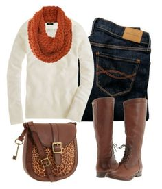 White sweater, burnt orange scarf,  jeans and brown riding boots