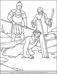 Stations of the Cross Coloring Pages 3 - Jesus falls the first time
