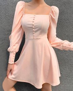 Square collar dress fashion wild button simple skirt · FE CLOTHING · Online Store Powered by Storenvy Elegant Party Dresses, Sexy Dresses, Cute Dresses, Vintage Dresses, Short Dresses, Dresses For Work, Dresses With Sleeves, Summer Dresses, Formal Dresses