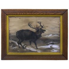 Caribou, Pastel and Charcoal | From a unique collection of antique and modern drawings at http://www.1stdibs.com/furniture/wall-decorations/drawings/