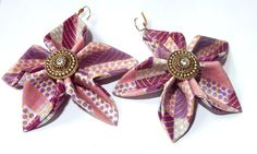 African Fabric Batik Earrings Pastel Flower Leverback Coated with Eco-Friendly Fabric Hardener by aoedeshands on Etsy