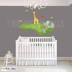 golf decal, mini golf wall decal, giraffe, Nursery Golf Decor, Friendship Falls decal, Ginger Golf Scene