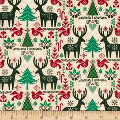 Seasons Greetings Reindeer & Trees Ecru from @fabricdotcom  From Fabri-Quilt, this cotton print is perfect for…