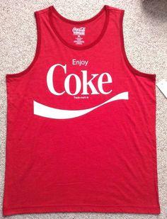 NEW vtg-look ENJOY COKE TANK TOP Red/White Coca-Cola Advertising T-Shirt MEN LRG #CocaCola #Tank