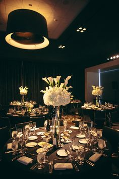 Hollywood inspired black and white wedding reception table decor