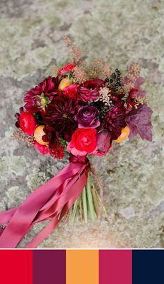 A bouquet in this rich dark color palette is perfect for a fall or winter wedding. Source: 100 layer cake #fallbouquet #winterwedding #colorpalette