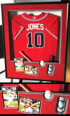 Get inspired by this personalized custom framed baseball jersey and memorabilia.  The Great Frame Up can frame anything!