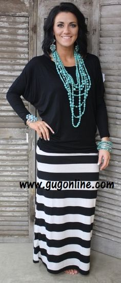 Line By Line Striped Maxi Skirt in Black and White- NOW IN PLUS SIZE www.gugonline.com $19.95-$22.95