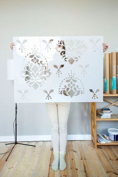 Flower Garden Wall Stencil Large Damask Wall Stencil For DIY