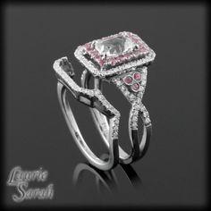 Emerald Cut White Sapphire Wedding Set with Pink Sapphire and Diam Double Halo and Diamond Contoured Wedding Band - LS2547