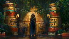 vlcsnap-1816355 Fantasy Places, Fantasy World, Fantasy Art, Kida Atlantis, Dreamworks Animation, Animation Film, Fantasy Landscape, Landscape Art, Jungle Temple