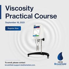 Join our Practical Course on Viscosity Measurements and learn test methods, types of fluid behaviour, and instrument use for your AMETEK Brookfield Viscometer. 🗓️Block your calendars for 16th September. This course includes information, activities, and techniques that you can easily understand and implement in your organization. Register today. Write an email to brookfield-support.de@ametek.com. Write An Email, Center Of Excellence, Training Schedule, Learning, Centre, September, Join, Europe, Organization