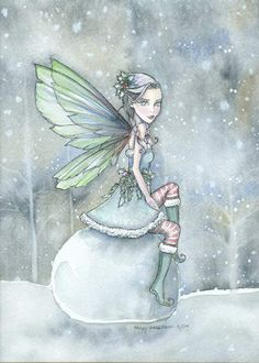 Christmas Winter Fairy by Molly Harrison Silence of Snowfall Christmas Fairy, Christmas Time, Fairy Land, Fairy Tales, Elf Art, Winter Fairy, Fairy Pictures, Mythical Creatures, Faeries