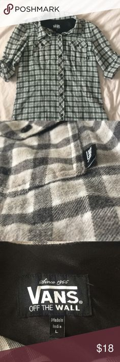 Vans Grey Flannel Comfy and soft grey with dark grey Vans flannel! Has been worn a few times bur in great condition. The sleeves are mid arm but looks really stylish! Feel free to make offers Vans Tops Button Down Shirts