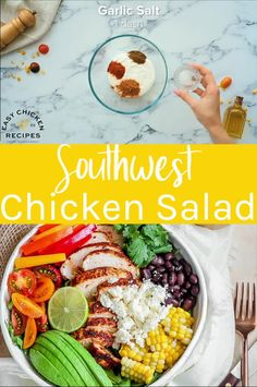 This Southwest chicken salad is packed full of fresh and vibrant ingredients and made with a chili lime dressing. Spiced chicken breasts are coated in a spice mixture and oven baked for a filling and hearty Mexican salad. Healthy Sides For Chicken, Healthy Baked Chicken, Healthy Chicken Dinner, Yummy Chicken Recipes, Good Healthy Recipes, Dog Food Recipes, Salmon Recipes, Cooking Recipes, Mexican Chicken Salads
