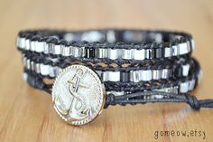 Triple Wrap Bracelet // Anchor // Black and White and by Gomeow, $19.95
