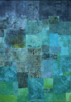 Silent Echoes. Hand dyed - hand stitched. One of a series of large abstract textile works about landscape - by Ann Hankins.