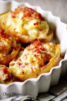 Patatas rellenas, patatas con queso ricotta y jamon york