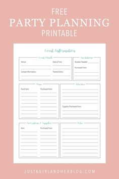 Party Planning: Organized (with FREE Printables!) Party Planning: Organized (with FREE Printables!),Bullet Journal ideen Organize your party planning with these pretty and free printables! There are two cute printable designs to choose from so. Party Planning Printable, Party Planning Checklist, Event Planning Template, Planning Budget, Event Planning Tips, Event Planning Business, Printable Party, Wedding Planning, The Plan