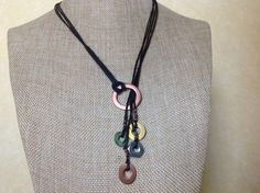 Hardware Jewelry - Oxidized Washer Necklace with Dangles Mixed Metals