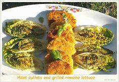 Kotlety jaglane z grillowaną sałatą rzymską