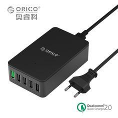 5 포트 빠른 충전기, ORICO QSE-5U QC2.0 충전기 5V2. 4A/9V2A/12V1. 5A 데스크탑 USB 충전기 거의 스마트 EU/미국 플러그 블랙