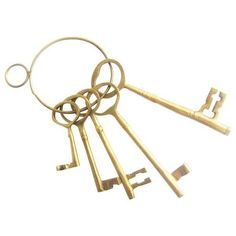 Vintage Brass Keys - Set of 5 ($159) ❤ liked on Polyvore featuring home, home decor, filler, decor, decorative objects, vintage home accessories, vintage home decor and brass home decor