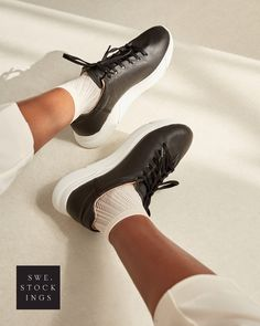 Klara Knit Socks - A sleek and elegant knit pattern that matches any occasion perfectly! Here are the reasons why you'll love Klara: - Knit socks - Soft cuff - Toe reinforcements - 100% emission free socks - Knitted from recycled yarn #swedishstockings #sneakersocks #sneakersfashionwomens2020 #sneakersfashionoutfitwomans #blacksneakerswhitesocks Knee High Stockings, Scandi Chic, Recycled Yarn, Knitting Socks, Knit Socks, Stella Mccartney Elyse, Sneakers Fashion, Rain Boots, Oxford Shoes