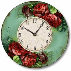 Item C2027 Vintage Victorian Style Red Roses Clock