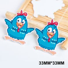50pcs/lot 33MM Cartoon Rooster Flat Back Resin Cute Little Chicken Planar Resins DIY Craft For Home Decoration Accessories FR-18