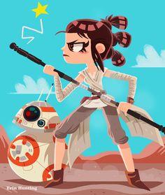 Erin Hunting Illustration Star Wars Love, Star Wars Day, Rey Star Wars, Star War 3, Fanart, Hunting Art, Star Wars Images, Star Wars Humor, Star Wars Characters