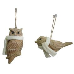 Owl/Bird Ornament W/Scarf Assorted