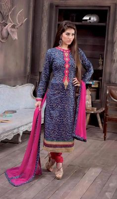 Look remarkably beautiful in this blue cotton printed churidar suit. The ethnic block print, lace, patch and resham work over a dress adds a sign of elegance statement for your look. #LatestLongCasualDresses