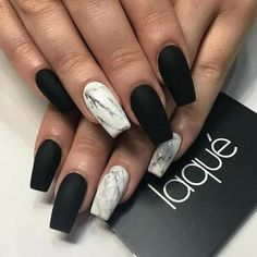 Marble coffin nail designs have become more and more popular in recent years, and the trend has not abated at all. Marble nails are a kind of nail art design which imitates the appearance of marble. Everyone can create this nail art design on their o Black Marble Nails, Marble Acrylic Nails, Water Marble Nail Art, Black Nail Art, Acrylic Nail Designs, Nail Art Designs, Nails Design, Acrylic Nails Almond Matte, Black Nail Tips