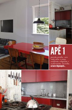 Red details in the decor.