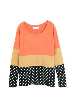 Color Block Dotted Top - Orange, iAnyWear