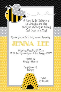 Bumble Bee Baby Shower Invitation by beenesprout on Etsy, $12.50