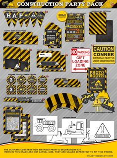 Construction Birthday, Construction Party Printables, Construction Birthday Decorations, Construction Party Decorations, Dump Truck Party by WolcottDesigns on Etsy