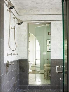Slate Grey Bathroom Floor Design, Pictures, Remodel, Decor and Ideas - page 5 Tile pattern idea. Grey Bathrooms Designs, Shower Tile Designs, Contemporary Bathrooms, Black Bathrooms, Grey Bathroom Floor, Gray And White Bathroom, Bathroom Flooring, Slate Bathroom, Bathroom Showers
