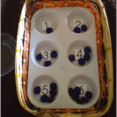 Toddler Montessori- math. Numbers velcro'd on trays so they can rearrange order.