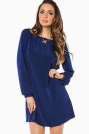 Middleway Shift Dress in Navy Blue