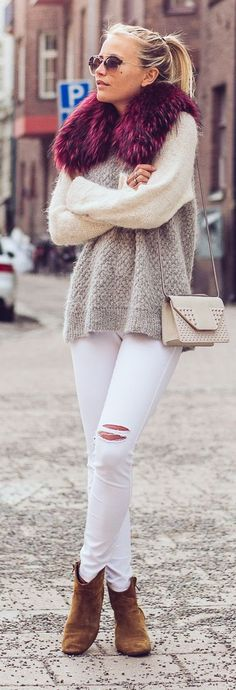 Burgundy On Neutrals Outfit