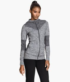 Zip-up yoga jacket with hood, fast-drying fabric, and tonal gray designs. | H&M Sport