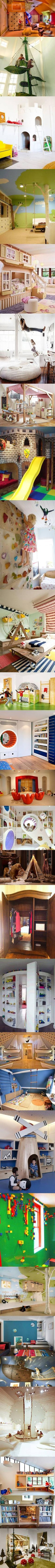 Indoor swings, climbing walls, and secret cubbies.  Great playroom ideas.  (No need to click over to actual site - it's just the pictures.)
