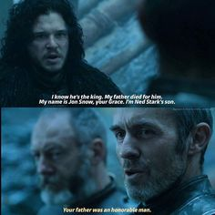 Davos asked what to do with the man of the Night's Watch. He told Jon that he should kneel, since he is standing in front of the one true King. Jon knew who Stannis was. His father fought for him ... and died for him. --- Please check out  @thepositivequotess  @thepositivequotess  @thepositivequotess  and leave a follow ☝☝☝ --- #jonsnow #kitharington #stannisbaratheon #stephendillane #serdavos #davosseaworth #liamcunningham #gameofthrones